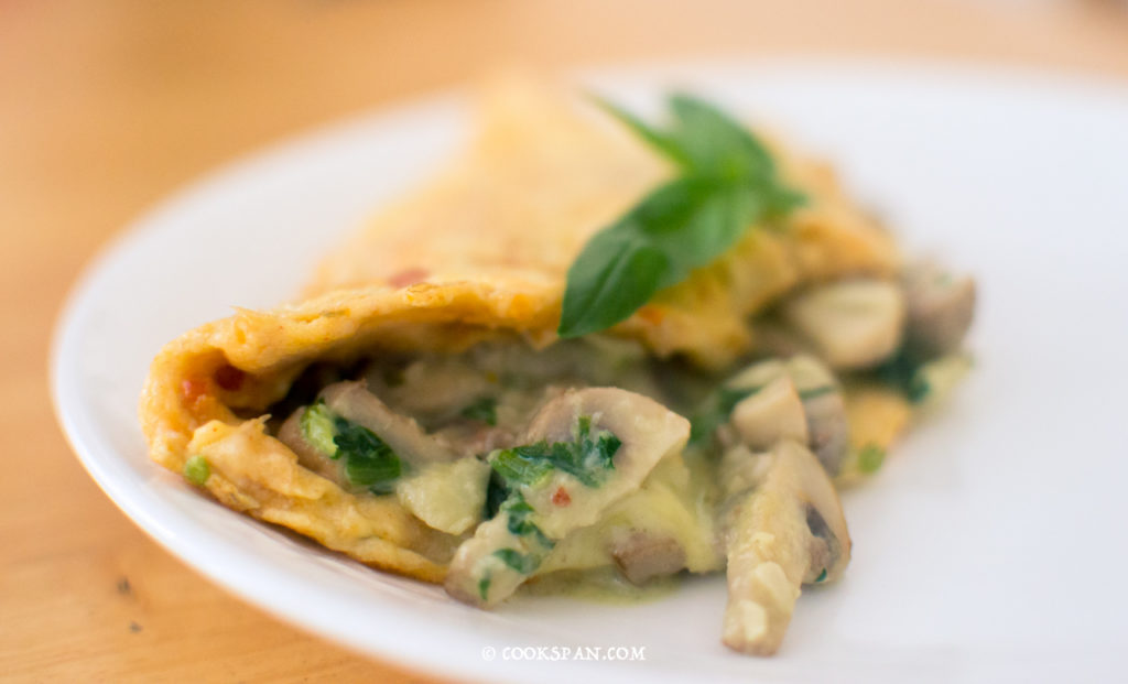 Stuffed Omelette with Spinach and Mushroom