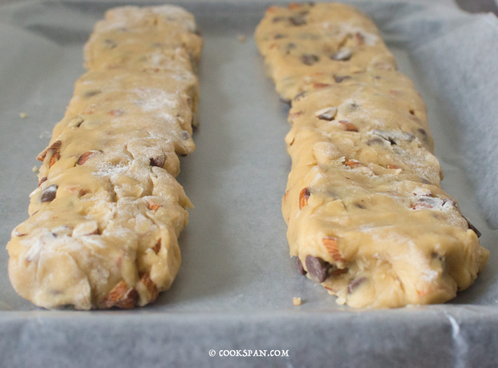 Almond and Choco-chip Biscotti _the elongated rolls to be baked