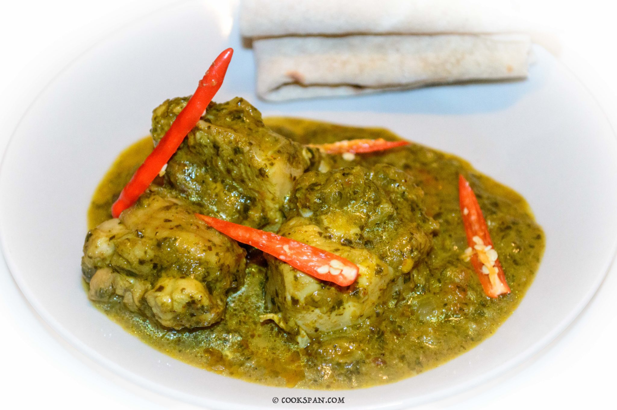 Palak Chicken served with Chapati