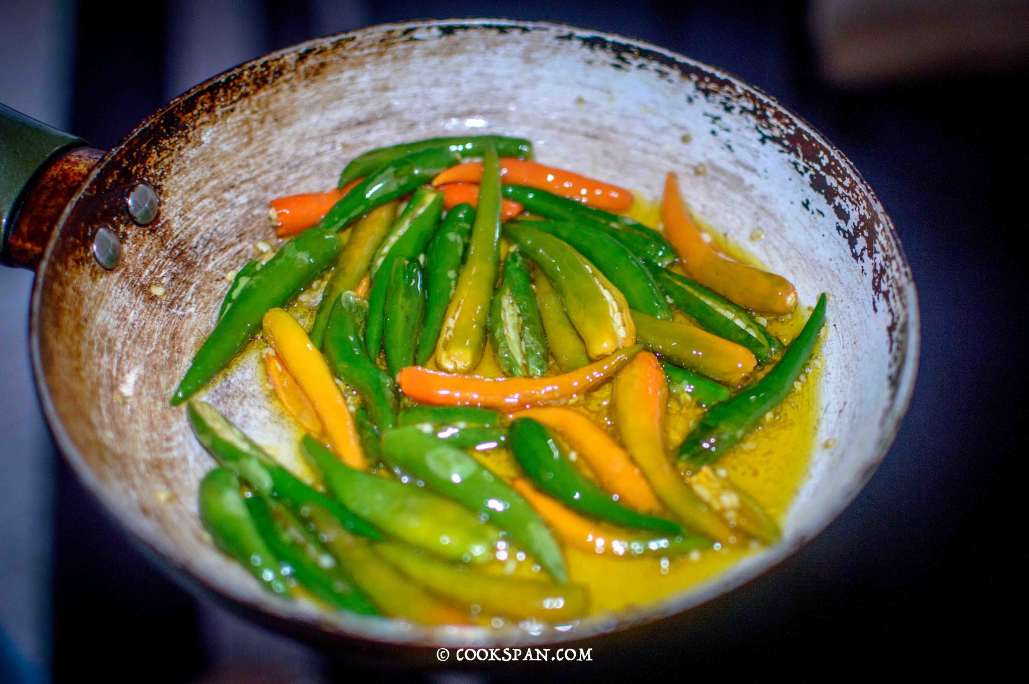 Frying of chilies