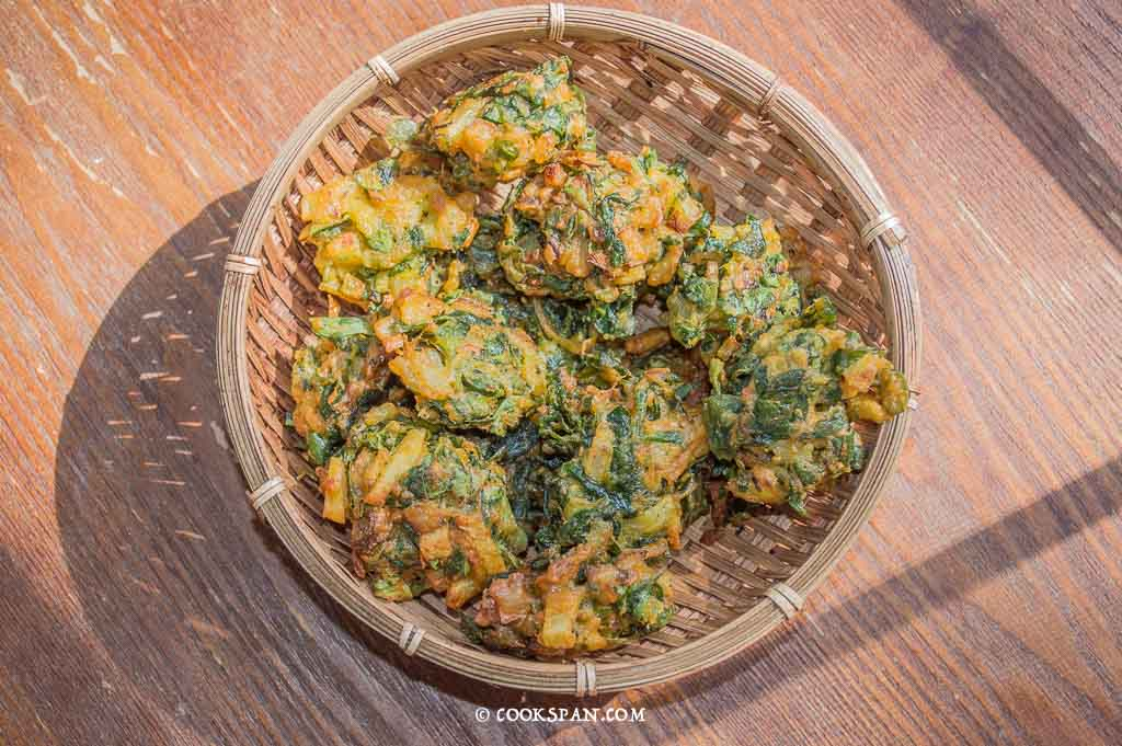 The crisp fried fritters or Pakodas