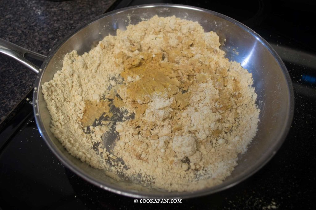 Stir throughly for mixing it with the flour